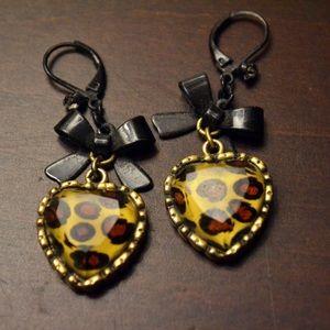 Crystal Leopard Heart and Black Bow Drop Earrings
